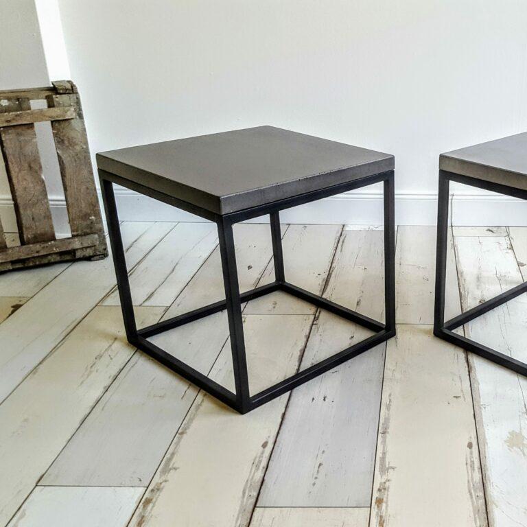 Beton Beistelltisch mit Stahl Untergestell