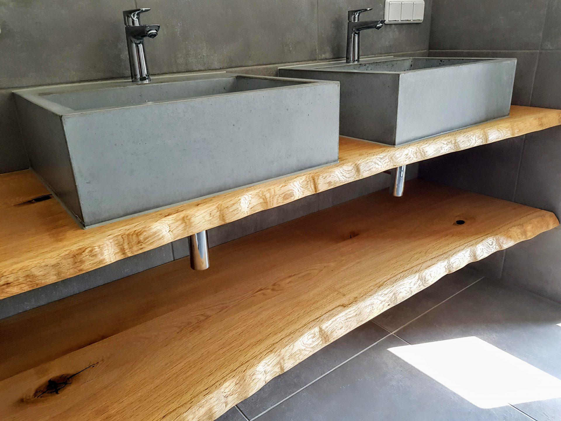 beton waschbecken m mit bohlen aus eiche  bk design