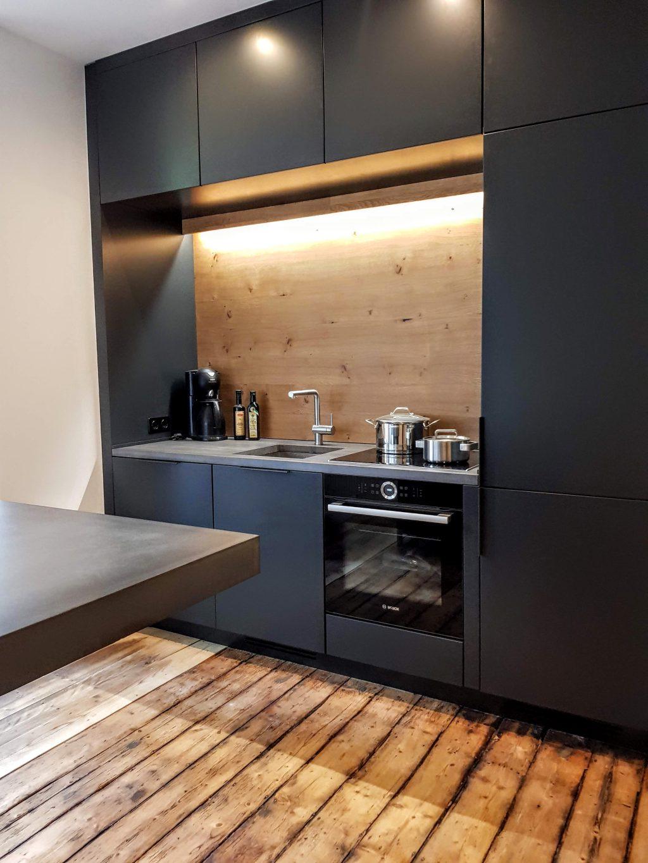 küche in lack, beton und eiche | b&k design