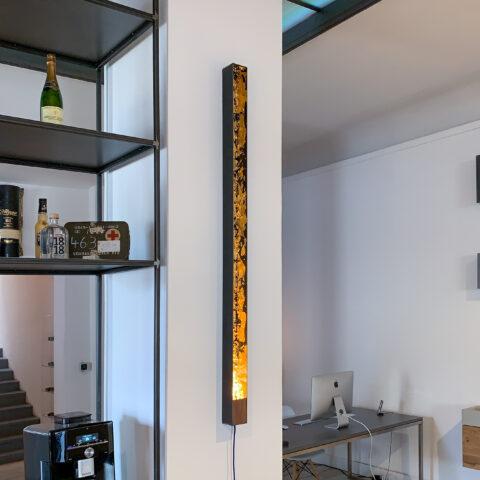 Designer LED Wandleuchte mit Blattgold
