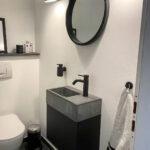Betonwaschbecken XS mit schwebendem Unterschrank