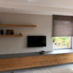 Sideboard aus Eiche und Beton als Fensterbanklösung